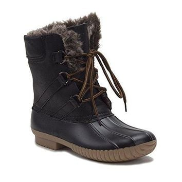 Women's Urban Lace Up Two Tone Faux Fur Lined Winter Rain Duck Boots