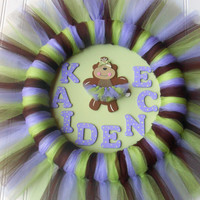 It's A Girl Wreath - New Baby Wreath - Hospital Door Decoration - Monkey Nursery Decor - Purple Nursery Decor - Wreaths