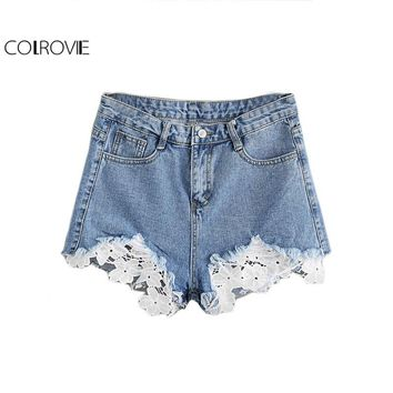 COLROVIE Blue Contrast Crochet Frayed Hem Denim Shorts Summer Beach Wear Shorts Loose Mid Waist Casual Shorts