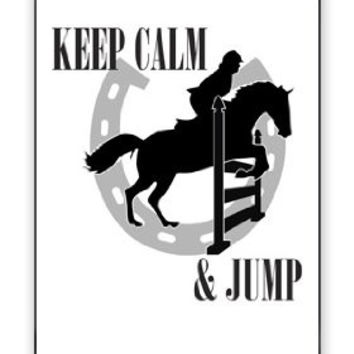Keep Calm And Jump Horse Equestrian Apple iPhone 5C Quality Hard Snap On Case for iPhone 5c/5C - AT&T Sprint Verizon - White Case