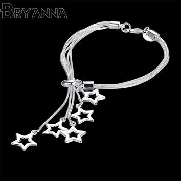 BJR4171 Bryanna Cute Romantic Crystal Bracelets For Women Charm Silver Bracelets & Bangles Bridal Wedding fashion Jewelry