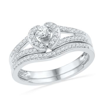 10kt White Gold Womens Round Diamond Heart Bridal Wedding Engagement Ring Band Set 1/3 Cttw
