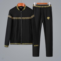 Versace autumn new trend casual men's fitness sportswear two-piece black