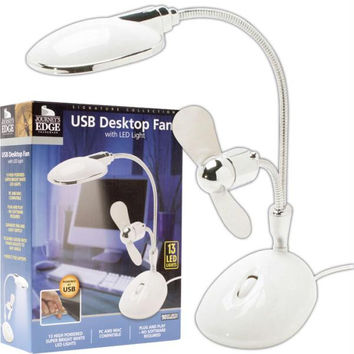 TG  White 2 in 1 Laptop Desk LED Lamp-Fan - Powered by USB