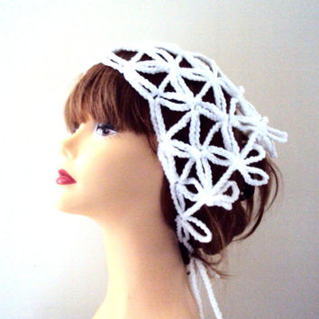 Crochet Headband White Yoga Bandana Triangle Scarf Women Hair Accessories Dreadlock Rasta Gift Bridal Hair Wrap Wedding Accessories