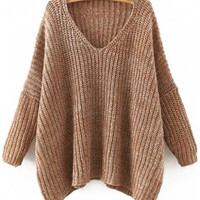 Outerwear : V Neck Batwing Sleeve Loose Sweater
