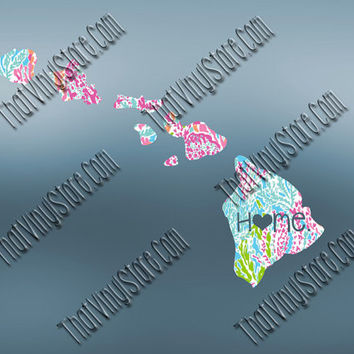 Hawaii Heart Home Decal | I Love Hawaii Decal | Homestate Decals | Love Sticker | Preppy State Sticker | Preppy State Decal | 051