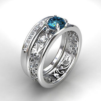London blue topaz and diamond filigree engagement ring set, white gold, teal filigree, topaz solitaire, diamond band, vintage, unique set