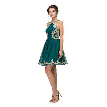 Hunter Green Homecoming Short Dress with Gold Appliques
