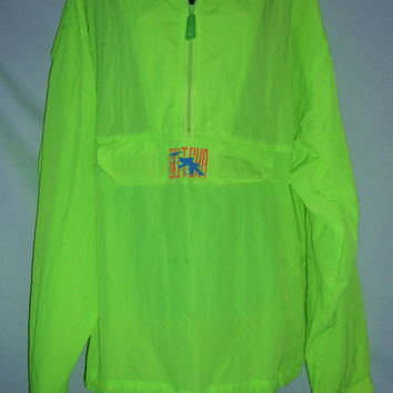 Vintage 80s Gotcha Neon Green Yellow Windbreaker Shark with Flag Blue Red Pullover Zipper