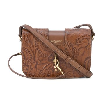 Small Embossed Satchel - Brown Leather Satchel