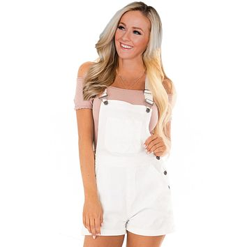 Womens White Stretch Cotton Denim Short Overalls