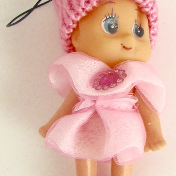 "Child Adorable Ornament Pink Dress and Hat with Jewels 3"" x 2"""