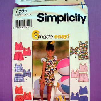 Girls' Top and Shorts Child Size 5, 6, 7, 8 Simplicity 7666 Sewing Pattern Uncut Summer Clothes Pattern