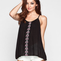 Patrons Of Peace Embroidered Womens Cami Black  In Sizes