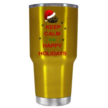TREK Keep Calm and Happy Holidays on Translucent Gold 30 oz Tumbler Cup