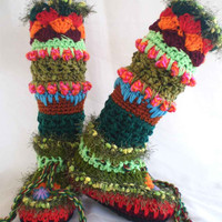 Crochet Slipper Boots/ Leg Warmer Combo-Unique colorful crochet slipper boots by FunkyCrochetArt