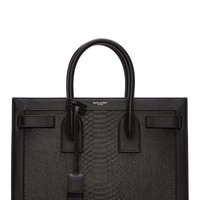 Saint Laurent Black Python Leather Sac Du Jour Tote Bag