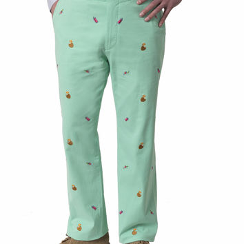 Harbor Embroidered Pant Palm with Tropical Drinks