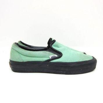 CREYONS Vintage VANS Tennis Shoes MINT GREEN Slip On 80s Sneakers Retro 90s Skater Shoes Unise