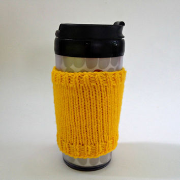 Coffee cozies, coffee cup sleeve, knit coffee cozy, knitted coffee cozy, coffee accessories, yellow coffee cup, coffee sleeve, coffee cozy
