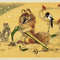 Fox skier, Rabbits, Magpie, Vintage Russian Postcard Drawing by Golubev, Happy New Year unused print 1966