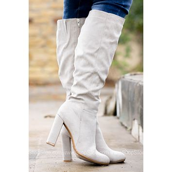 Icy Grey Tall Suede Boots