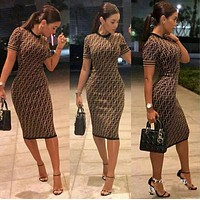 Fendi Sexy Popular Women F Letter Print Short Sleeve Round Collar High Waist Knee-Length Dress Coffee I12370-1