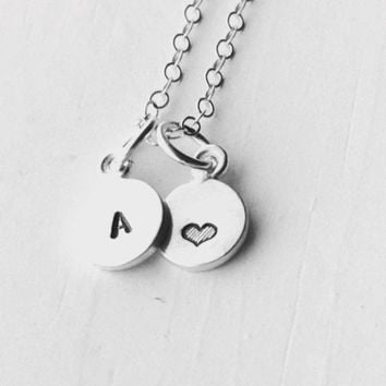 Mini Initial Necklace with Heart, Sterling Silver, Tiny Initial, Hand Stamped Jewelry, Heart Necklace, Everyday Jewelry, Gifts for her