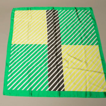 Vintage Scarf Geo Metro Color Block Geometric Stripes Yellow Green Black White