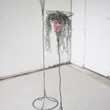 Set of 2 Tall Wild Wire Planters