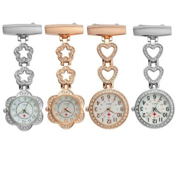 Fashion Women Pocket Watch Clip-on Heart/Five-pointed Star Pendant Hang Quartz Clock For Medical Doctor Nurse Watches LX