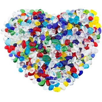 rockcloud 1 lb Colorful Lampwork Glass Tumbled Chips Crushed Stone Healing Reiki Crystal Jewelry Making Home Decoration