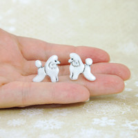 Poodle Dog Lover Gift Ceramic Stud Earrings