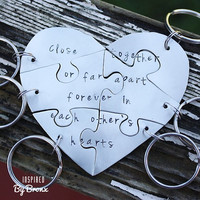 Hand stamped friendship puzzle keychain, shaped like a heart - perfect for 6 people