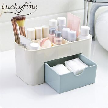 Large Plastic Cosmetic Storage Box Jewelry Container Makeup Organizer Case Drawer Cotton Pads Nail Polish Desktop Box 2018