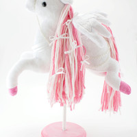 Pegasus Carousel Horse Plush, Stuffed Animal, Soft Sculpture, Art Doll