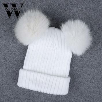 faux fur ball cap poms winter hat for women girl 's hat knitted beanies cap thick female cap high quality new