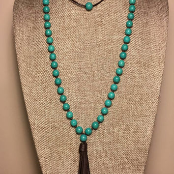 Turquoise Knotted Beads Dark Brown Leather Choker Tassel Necklace