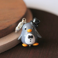 Penguin charm penguin jewelry animal jewelry gift for her penguin necklace polymer clay penguin handmade penguin gift polymer clay charms