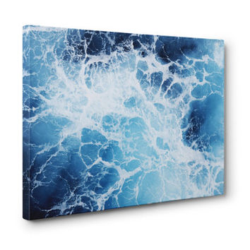 Blue Ocean Surf 3 - Gallery Wrap Canvas, Coastal Home Decor Accent Hanging, Beach Surf Style Canvas Wrap Art. 8x10 11x14 16x20 20x24 24x36