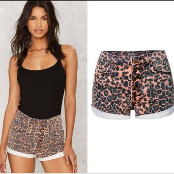 Fashion Womens Leopard Jeans Shorts Hot High Waist Denim Shorts For Female Slim Fit Roll Up Slim Fit Plus Size