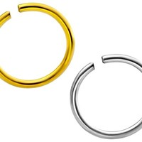 Set of 2: 20g Sterling Silver & 18k Gold Plated 8 mm Seamless Nose Ring Hoops