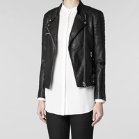Womens Darte Leather Biker Jacket (Black) | ALLSAINTS.com