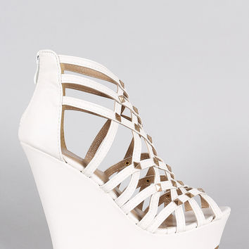 Vegan Leather Strappy Criss Cross Peep Toe Studded Wedge