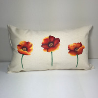 Throw Pillow Cover with Hand Painted Red Poppies