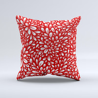 Red Floral Sprout Ink-Fuzed Decorative Throw Pillow