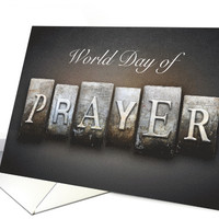 World Day of Prayer Invitation with Prayer Written on Stone card