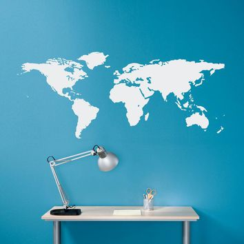World Map Wall Decal - Geography Wall Art - Map Decal - Office Decor - Medium