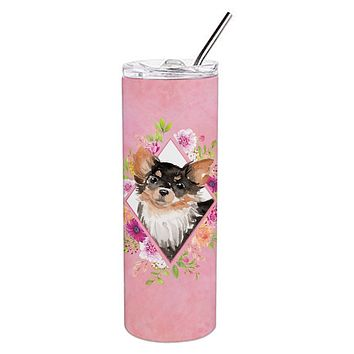 Longhaired Chihuahua Pink Flowers Double Walled Stainless Steel 20 oz Skinny Tumbler CK4225TBL20